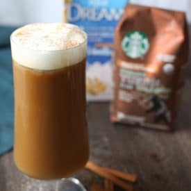 Horchata vegan latte in a tall glass using Starbucks coffee and rice milk.
