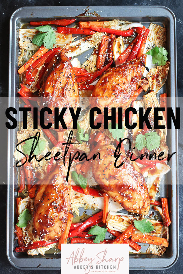 pinterest image of sheet pan sticky chicken breasts on cabbage and peppers with text overlay