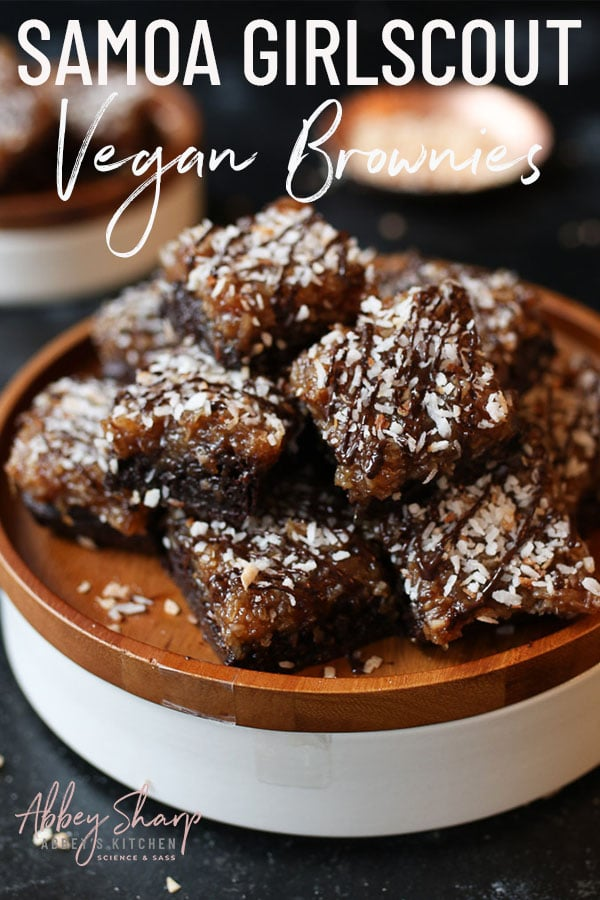 stack of samoa vegan brownies on a wooden plate