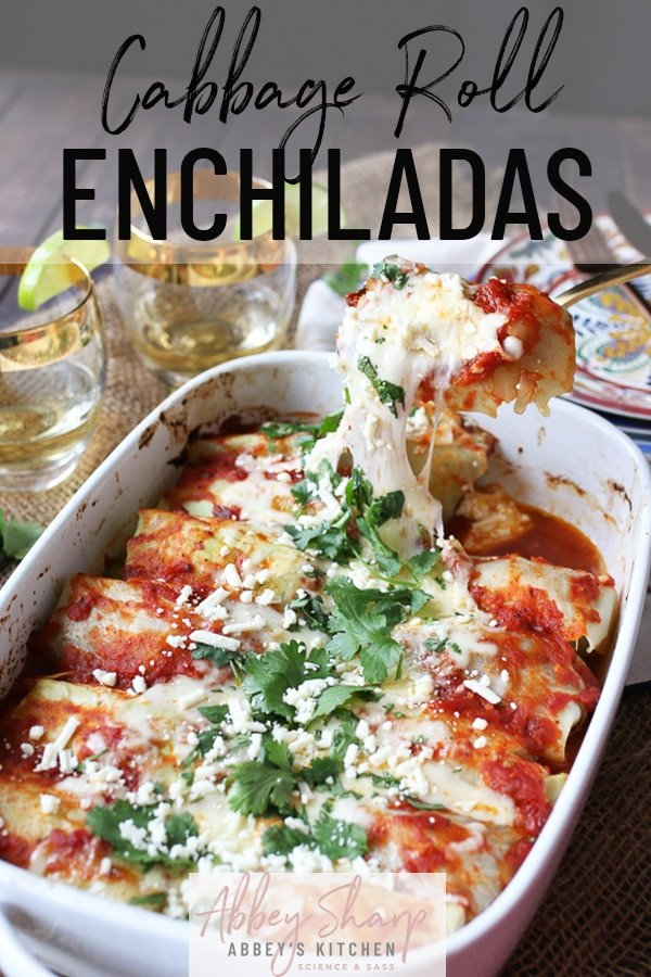 pinterest image of low carb enchilada recipe topped with parsley and cheese with text overlay