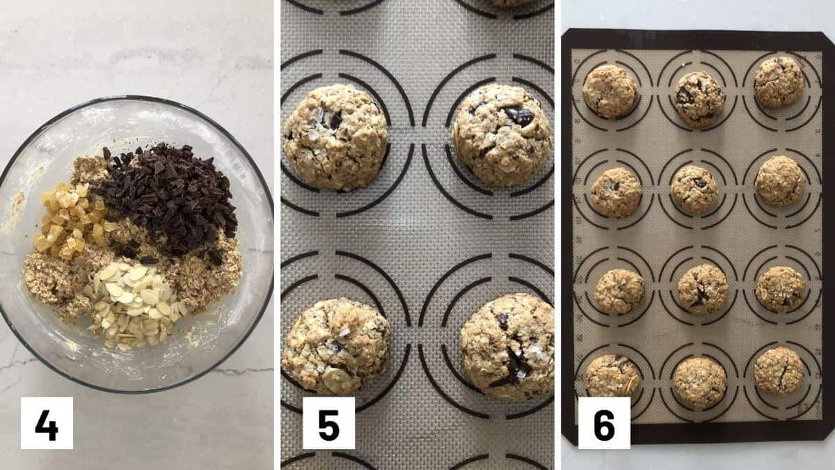 Set of three photos showing cookie batter mixed, rolled into balls, and baked.