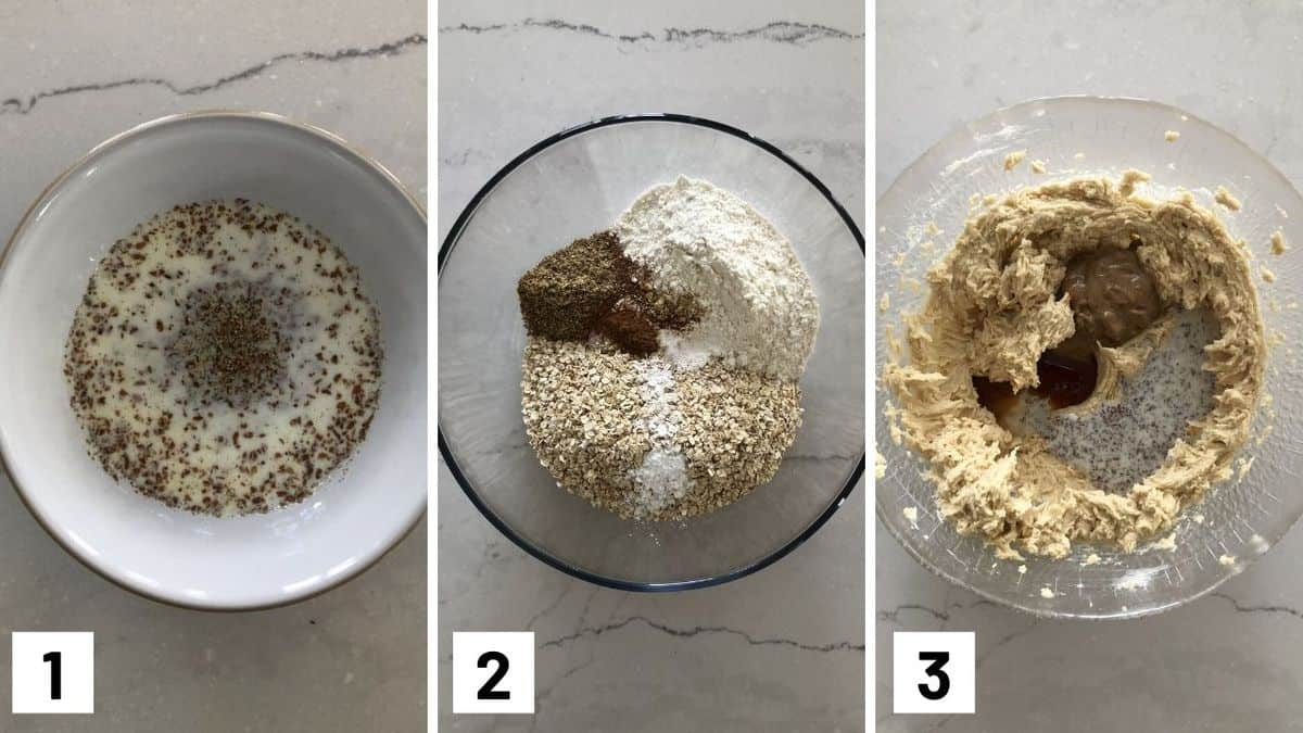 Set of three photos showing cookie ingredients being mixed together.