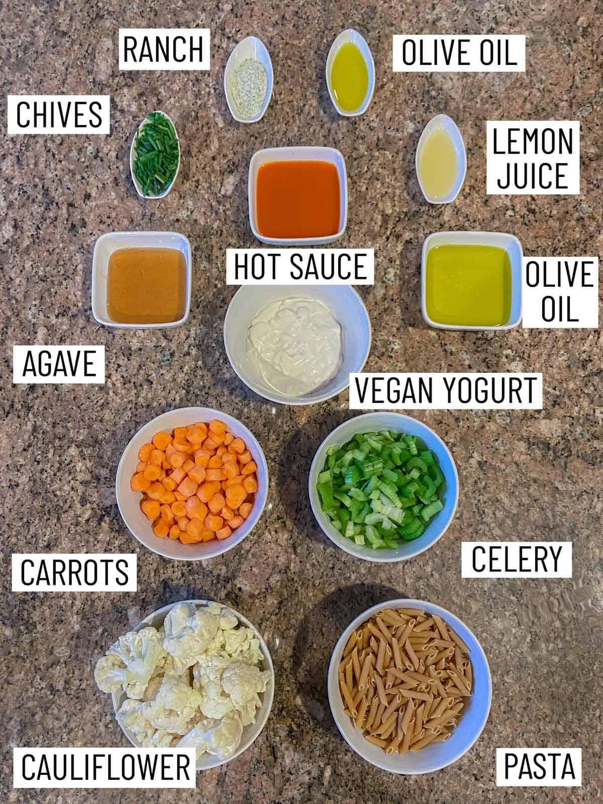 Ingredients needed to make buffalo pasta salad.
