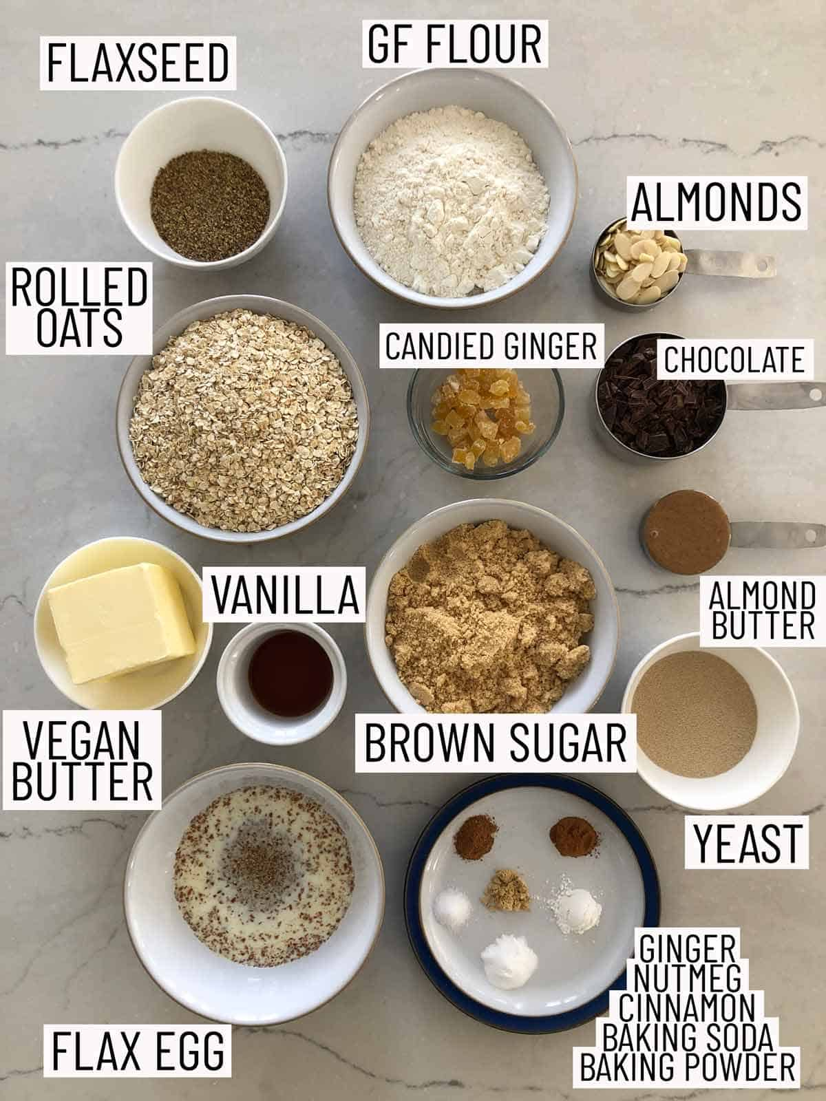 Overhead photo of ingredients for cookies.