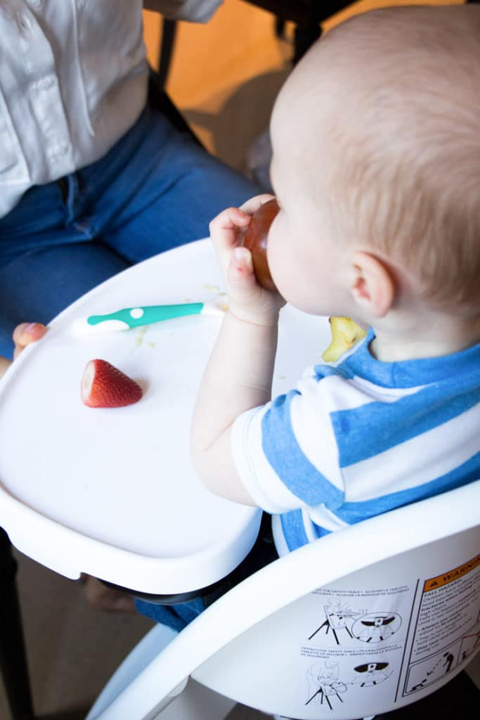 Baby boy sitting in a high chair eating a tomato.