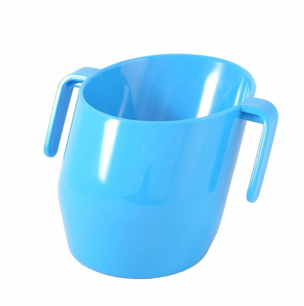 Angled blue baby cup.
