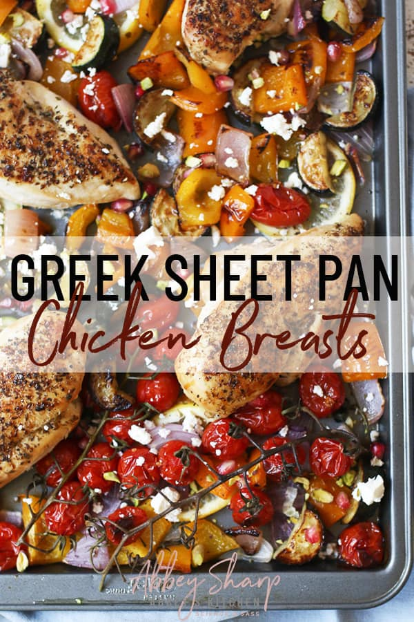 birds eye view of greek sheet pan dinner