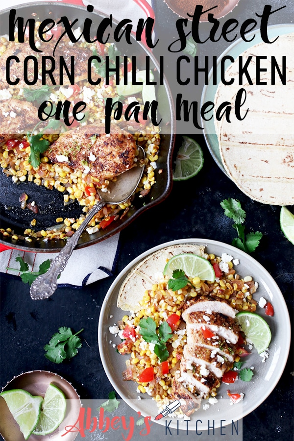 Mexican chicken and corn in a pan next to a serving on a plate.