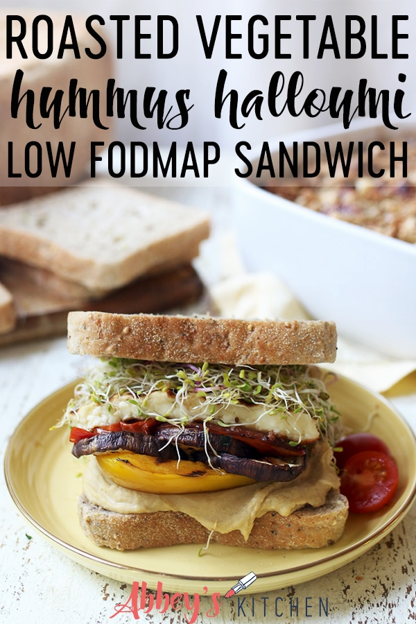 pinterest image of Veggie sandwich served on a yellow plate with text overlay