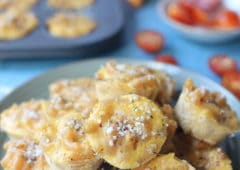 Mac and cheese bites on a blue plate.
