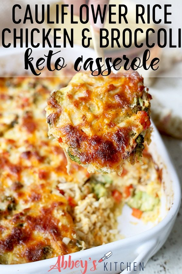 pinterest image of Spoonful of cauliflower rice casserole with text overlay