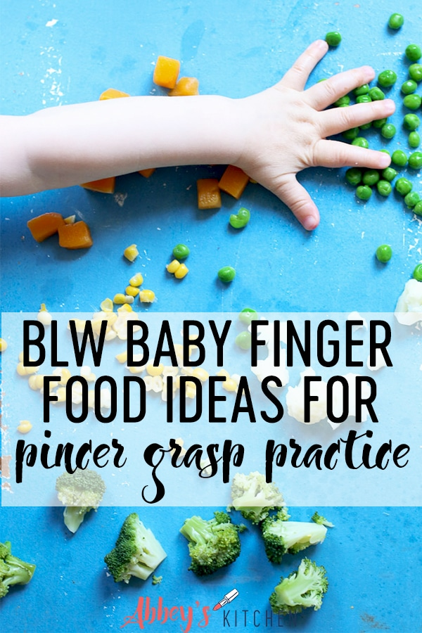 pinterest image of Baby's hand reaching for cut up vegetables with text overlay