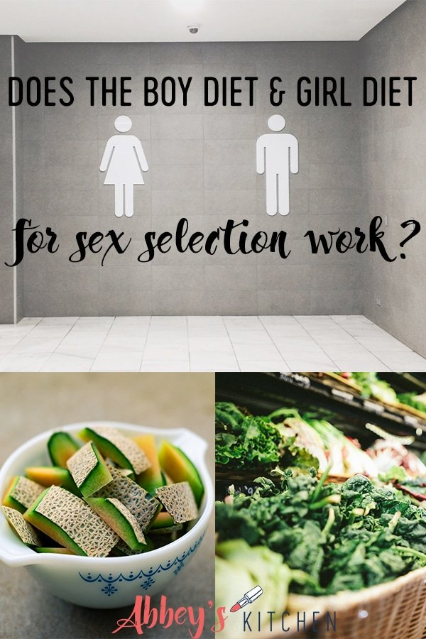 pinterest image of a gender washroom sign above two photos of fruits and vegetables with text overlay