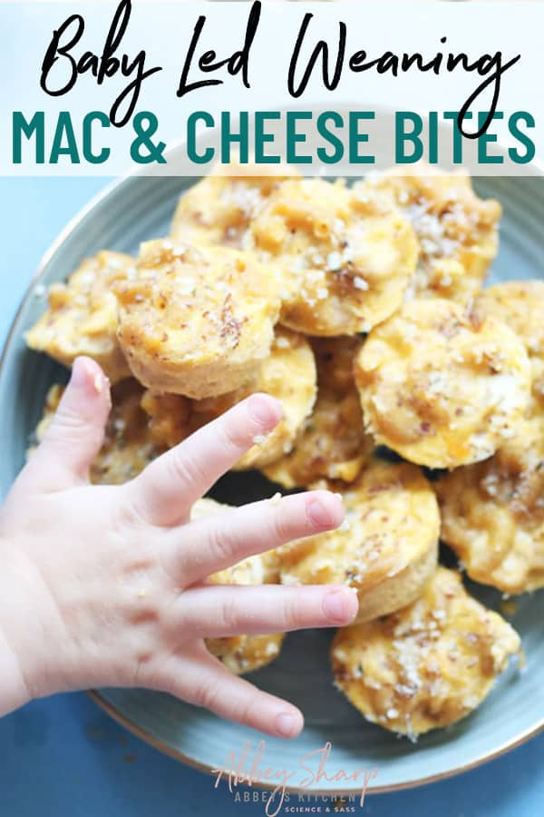 pinterest image of mac and cheese bites