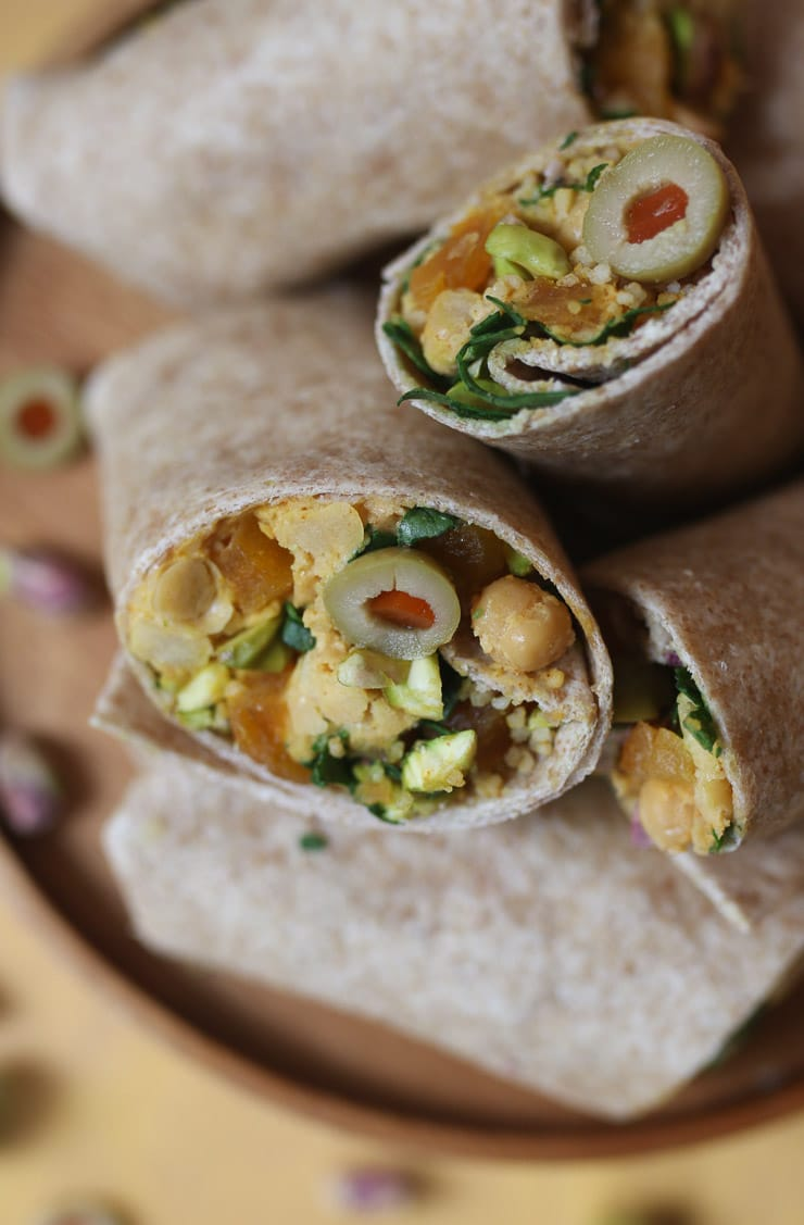 Close up of moroccan salad wraps.