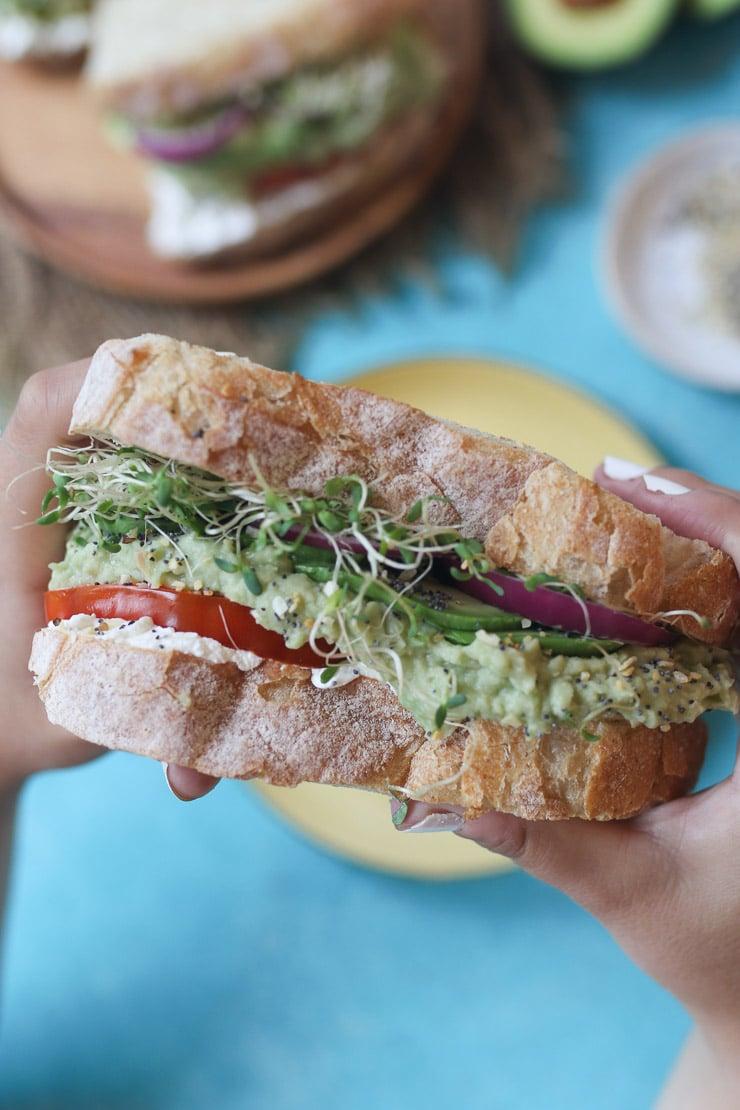 Hand holding large vegan sandwich.