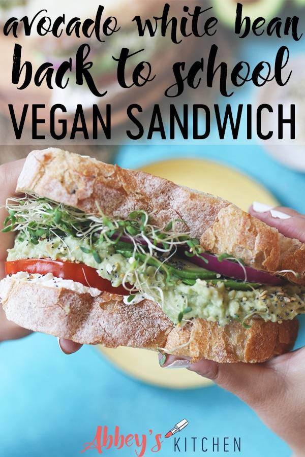 Hand holding vegan sandwich.