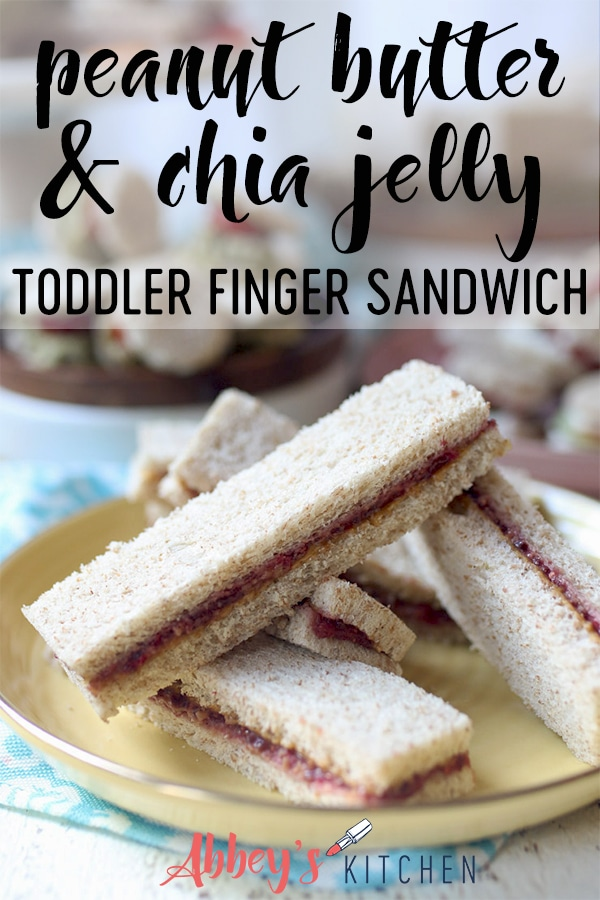 Peanut butter and jelly finger sandwiches.