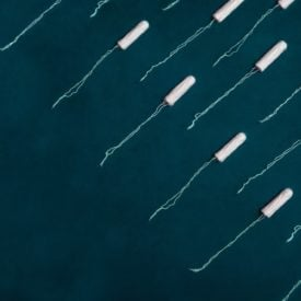 tampons on a blue background