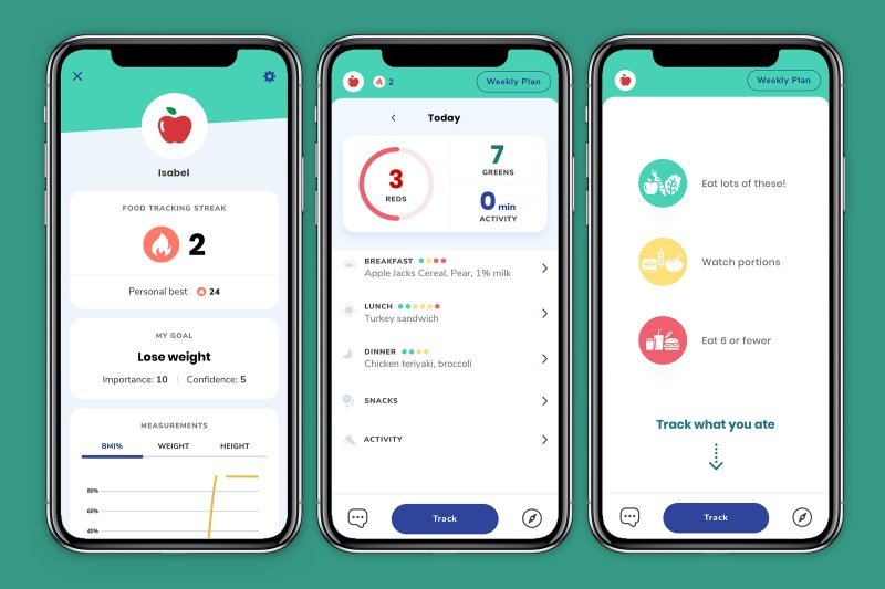 Screen captures of a calorie counting app
