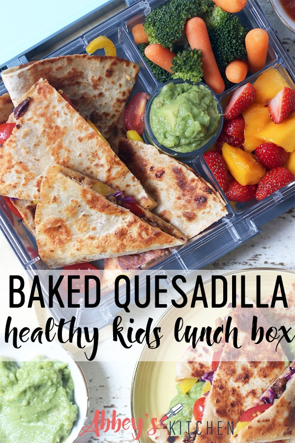 Quesadilla in a lunch box and on a plate.