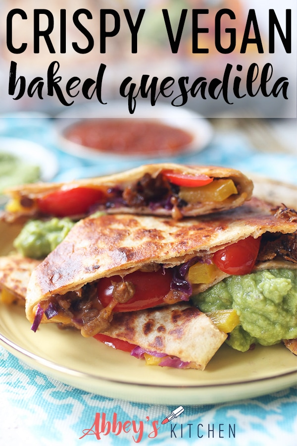 pinterest image of Veggie quesadilla on a yellow plate with text overlay