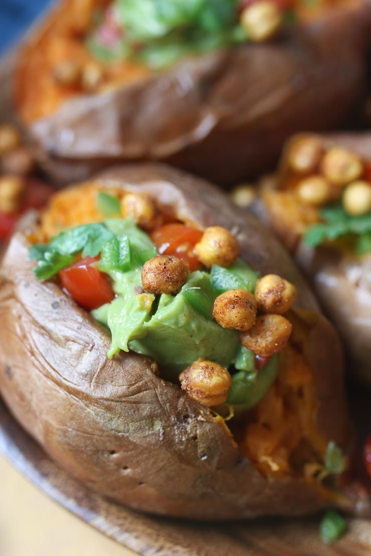 Chickpeas and guacamole in stuffed sweet potatoes.