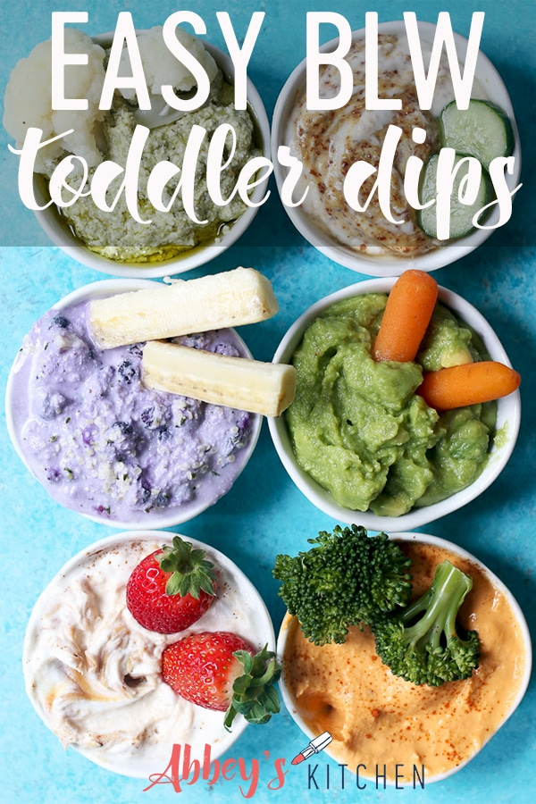 Variety of dips with fruits and vegetables.