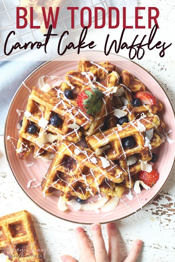 pinterest image of carrot cake waffles