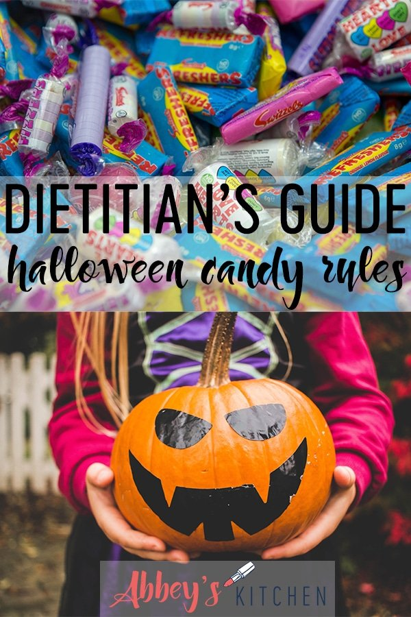 Pinterest image of candy above an photo of a girl holding a pumpkin with text overlay