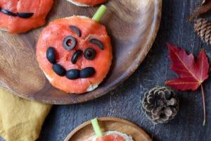 Sandwich shaped by pumpkin for halloween.
