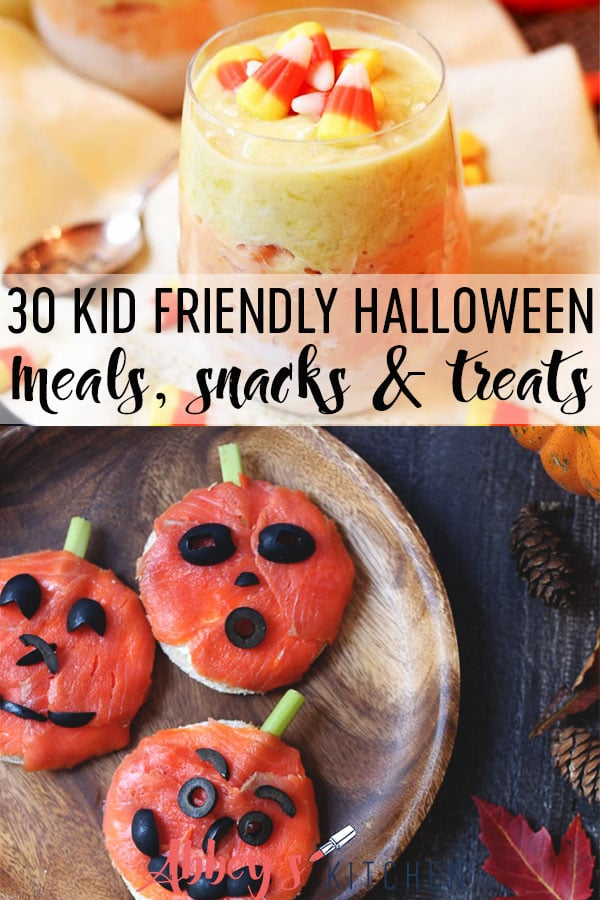 Pinterest image of various halloween kids meal ideas with text overlay