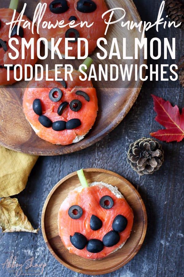 pinterest image of halloween smoked salmon sandwiches