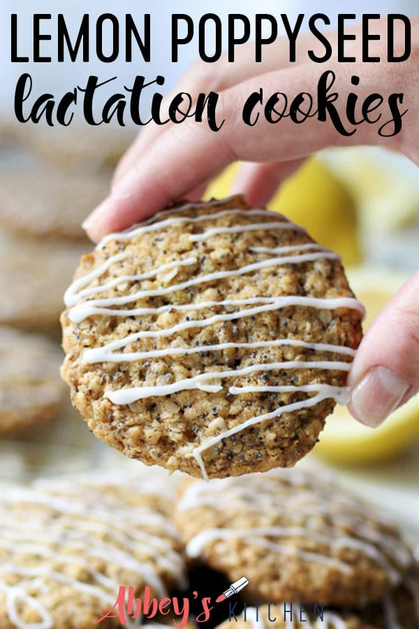 Pinterest image of a hand holding a lemon cookie with a glaze with text overlay.