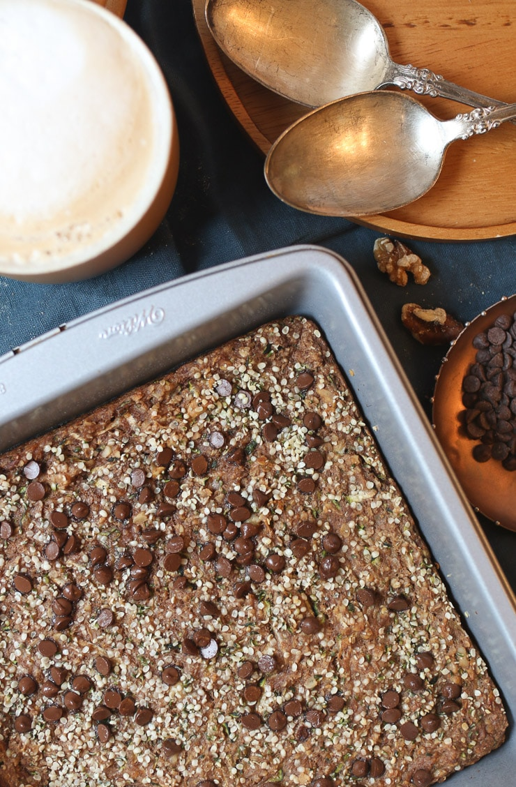 Chocolate zucchini baked oatmeal in a silver pan.