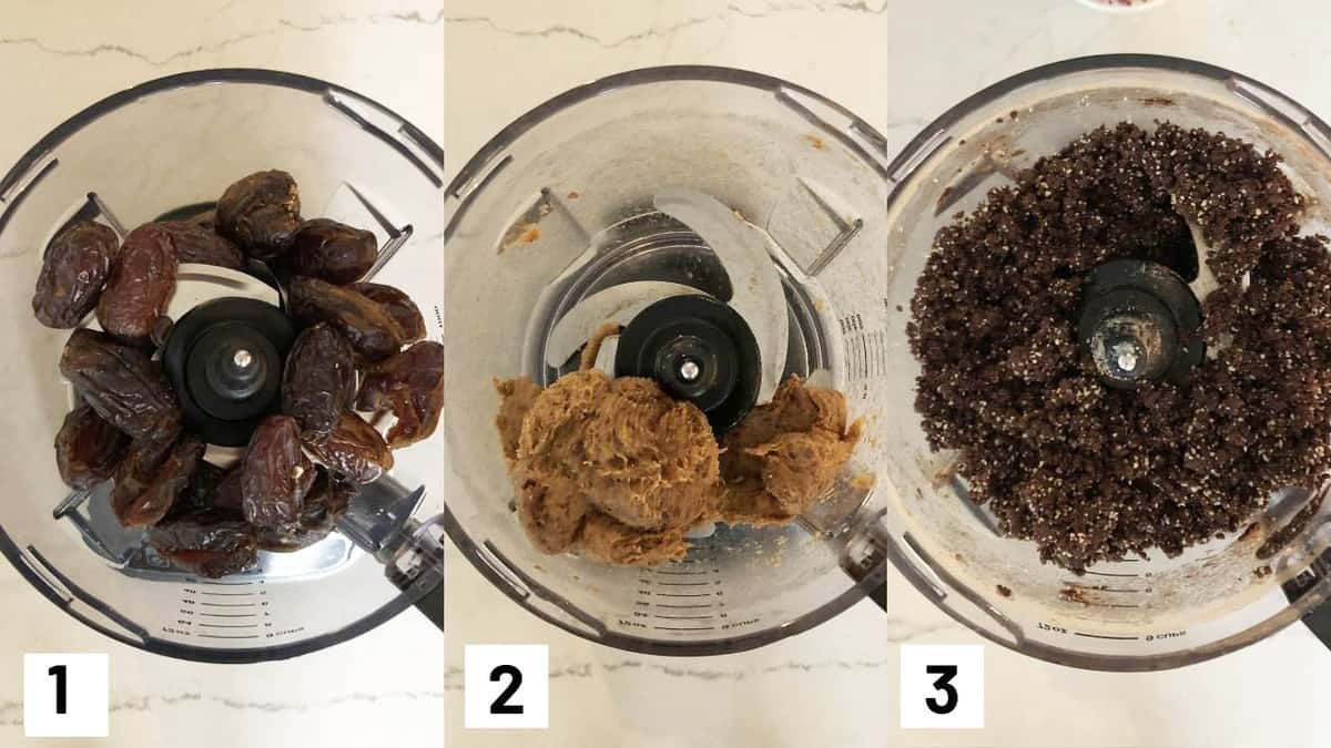 Three side by side images showing how to make the recipe including pureeing the dates and making the brownie base with almond flour, cocoa powder, coconut oil, salt, and vanilla.