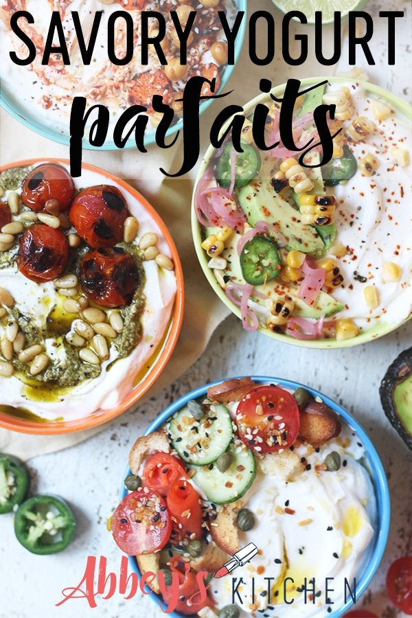 pinterest image of four greek yogurt bowls with various toppings with text overlay