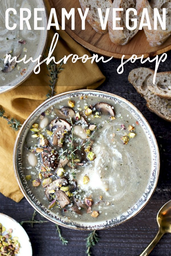 pinterest image of a Big bowl of creamy mushroom soup with text overlay