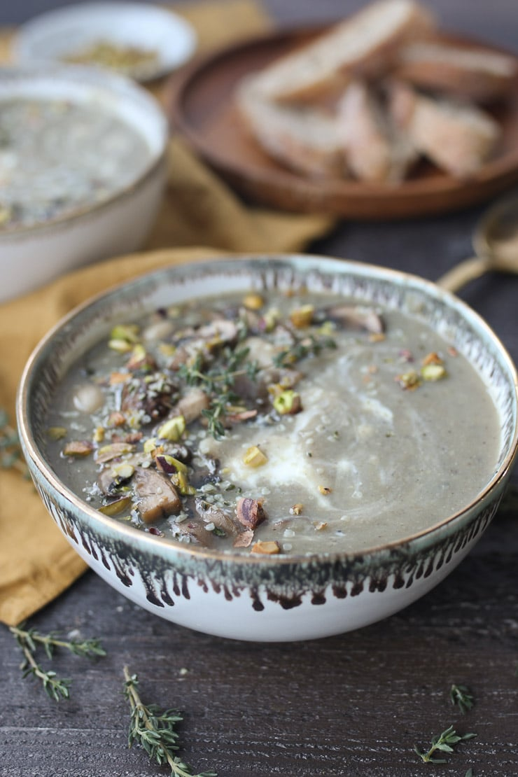 Bowl of creamy mushroom soup.