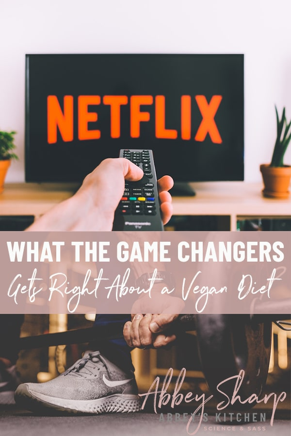 pinterest image mage of an arm holding a remote pointed at a TV with the netflix logo above of an image of a foot wearing a grey running show next to a barbell with text overlay
