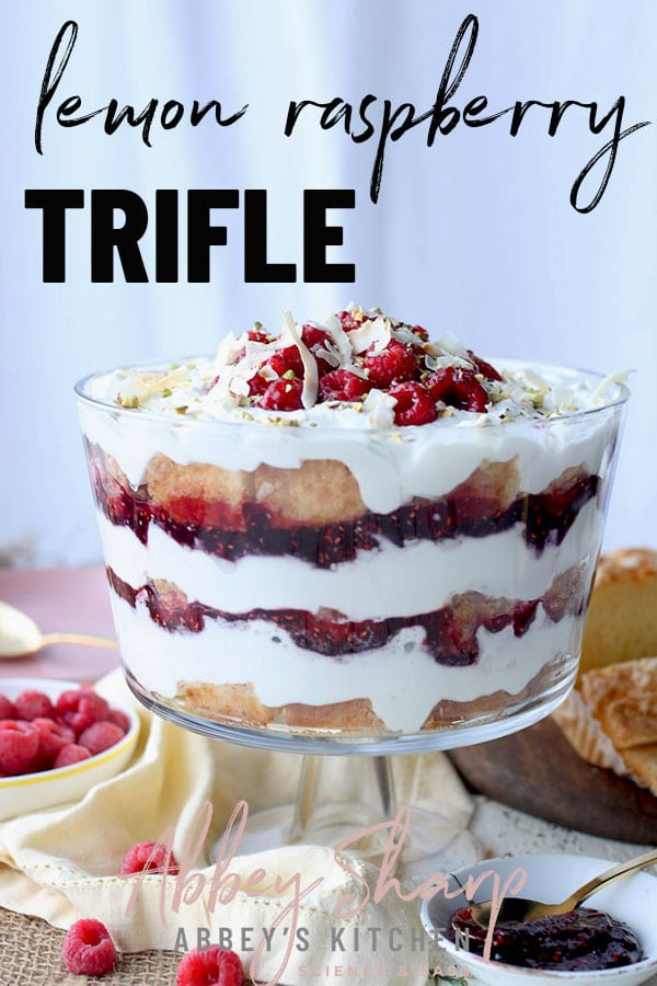 pinterest image of Berry trifle served in a large glass dish with text overlay
