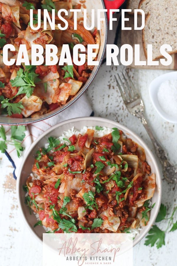Birds eye view of cabbage rolls in a bowl