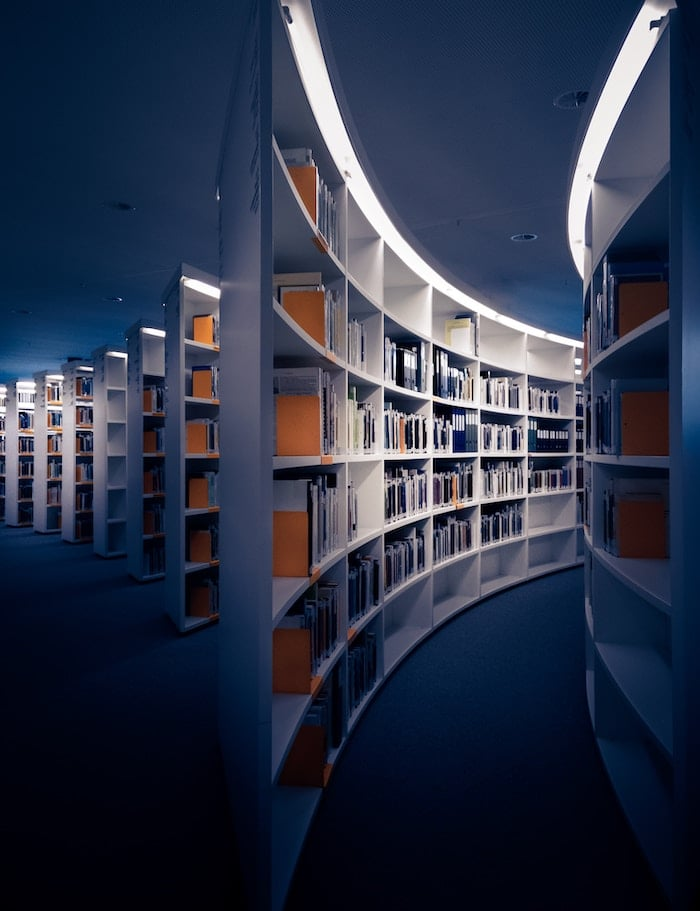 Shot of a library with research on intuitive eating.