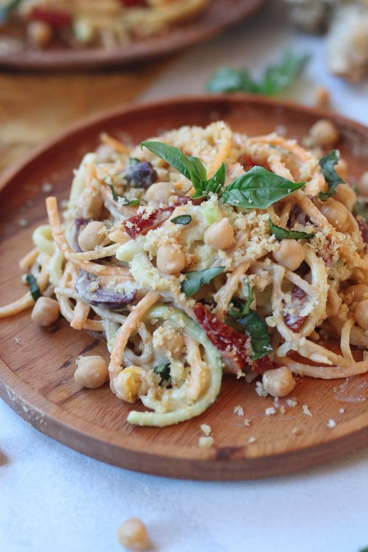 vegan hummus pasta with zucchini noodles  high protein