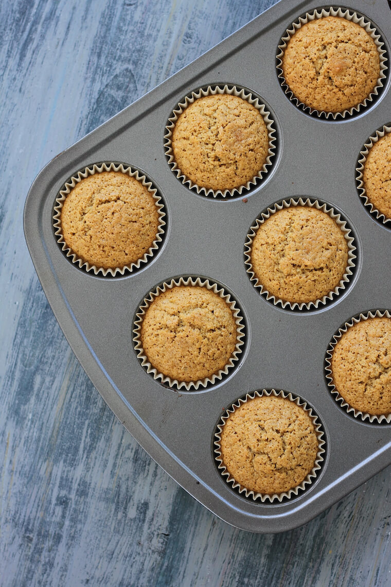 oatmeal muffins in a baking tray that use pantry staples