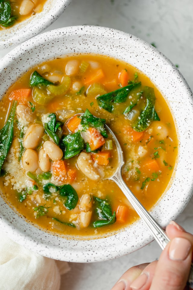 white bean soup with spinach and carrot