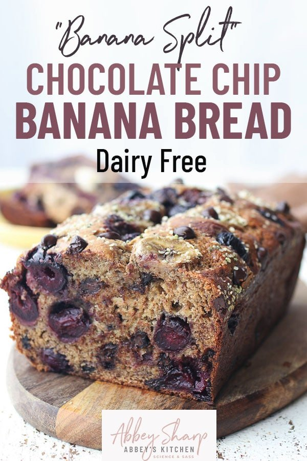 pinterest image of chocolate chip banana bread on wooden plate with text overlay
