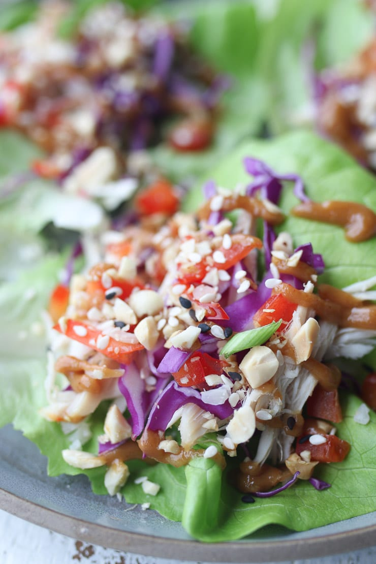 close up of no cook chicken lettuce wrap on a grey plate