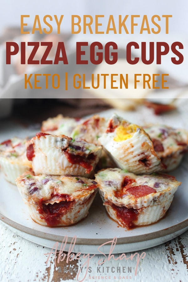pinterest image of pizza style breakfast egg cups on a white plate