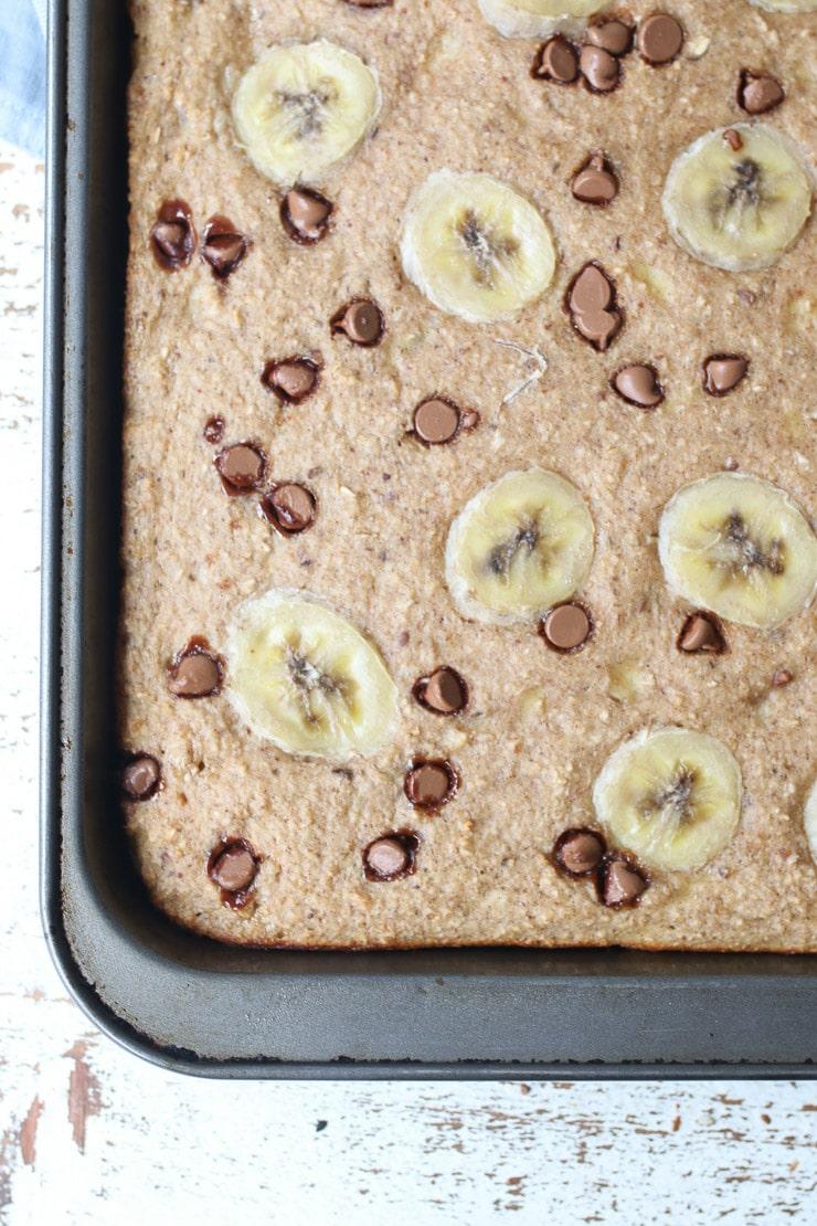birds eye view of sheet pan protein pancakes in sheet pan